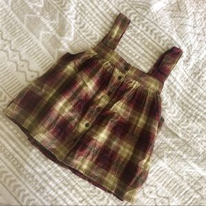 Boundary Cropped Plaid Blouse
